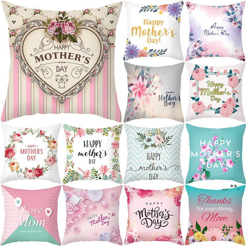 Muttertag Kissenbezug Weiche Gewebe Flannelette Quadrat 18x18 Zoll Floral Gedruckt Kissenbezug für Home Sofa Schlafzimmer Auto FWA4360