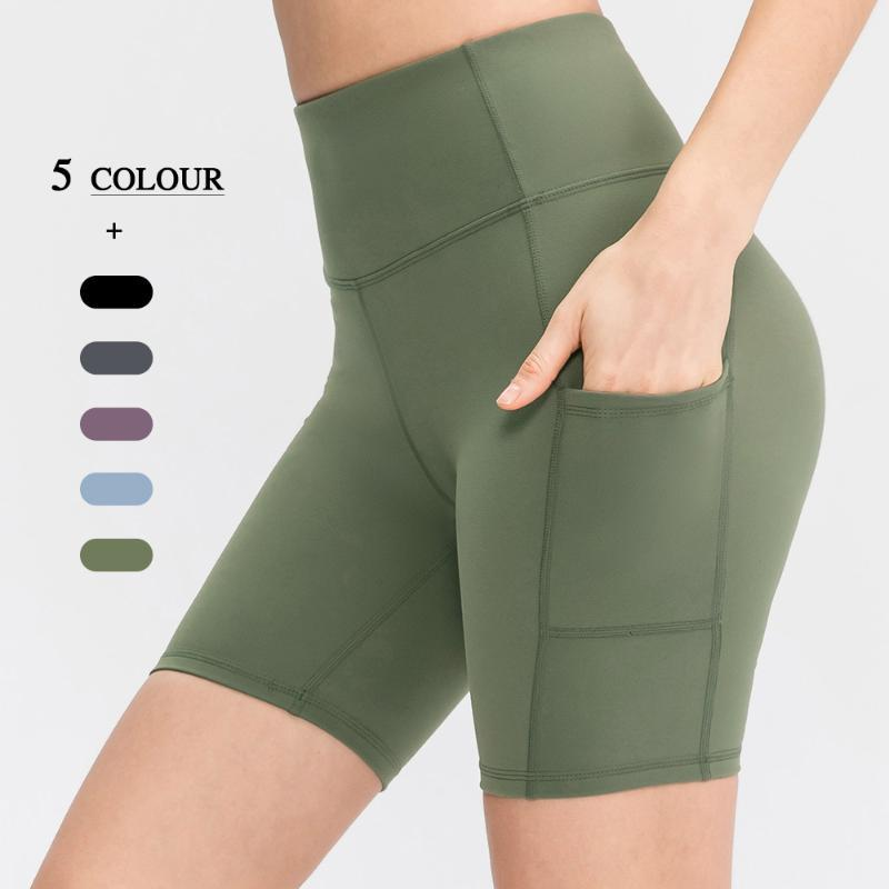 Hohe Taille Nahtlose Frauen Yoga Shorts Pocket Fitness Running Sports Push Up Hip Workout Kleidung Kurze Leggings Outfits
