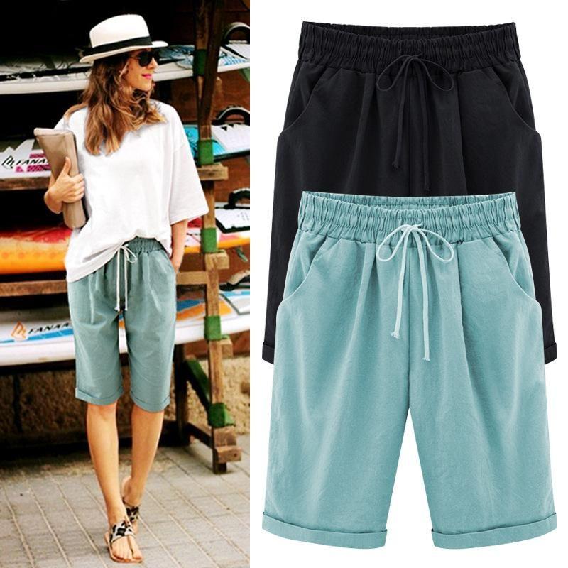 Pantalones cortos de verano de gran tamaño mujeres bolsillo sólido elástico de cintura alta algodón casual hembra corto más 6XL mujeres