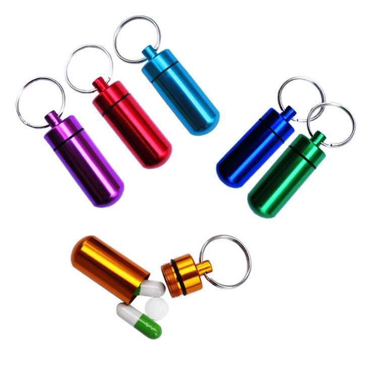 Metallbehälter Autoschlüssel Keychain Aluminium Pill Box Halter Tragbare Multifunktions Erste Hilfe Pillen Kette Aluminiumflaschen Schlüsselanhänger Dichtungssatz