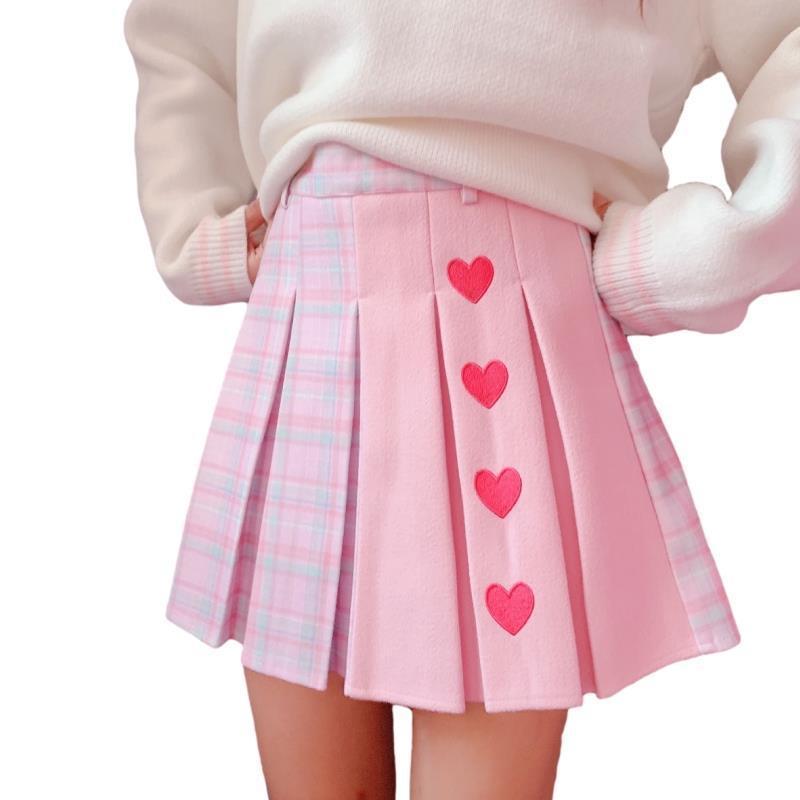Harajuku Kawaii Plaid Mini Schoolgirl Falda para mujer Lolita Cosplay High Cintura Heart Cute Pink Una línea Pleised Tennis CN Origen