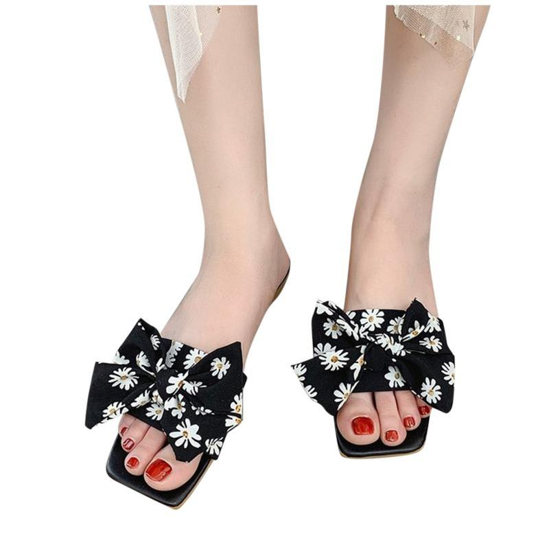 Mujeres arco zapatillas planas de punta abierta Playa transpirable Diapositivas de verano Casual Flip Flop Female Zapatos cuadrados # LR2