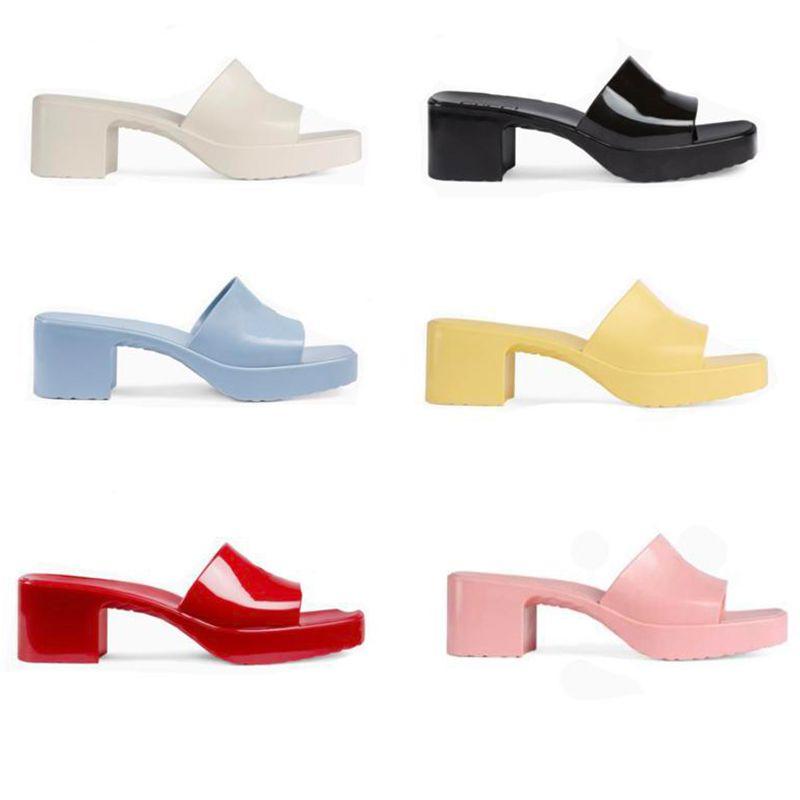 Chinelos de desenhista de mulheres de luxo slippers sandália sandália plataforma de borracha sandálias de salto robusto retro slides verão sexy mulheres flip flops tamanho 35-41