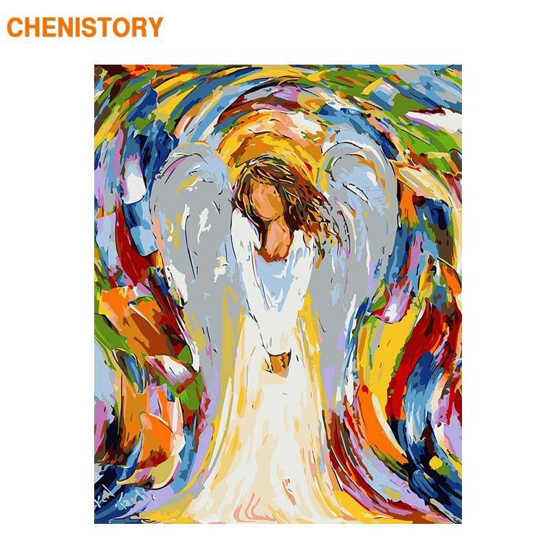 Paintings CHENISTORY Frame Picture Angel Diy Painting By Numbers Acrylic Paint Wall Art 60x75cm Home Decors