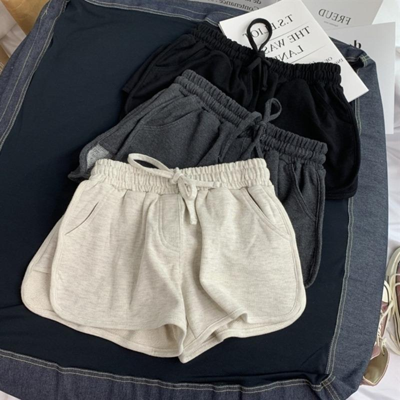 Summer Loose Shorts Femmes Mode Casual Fitness Shorts Mesdames Gris Noir Noir Solide Taille High Taille Élastique 2020