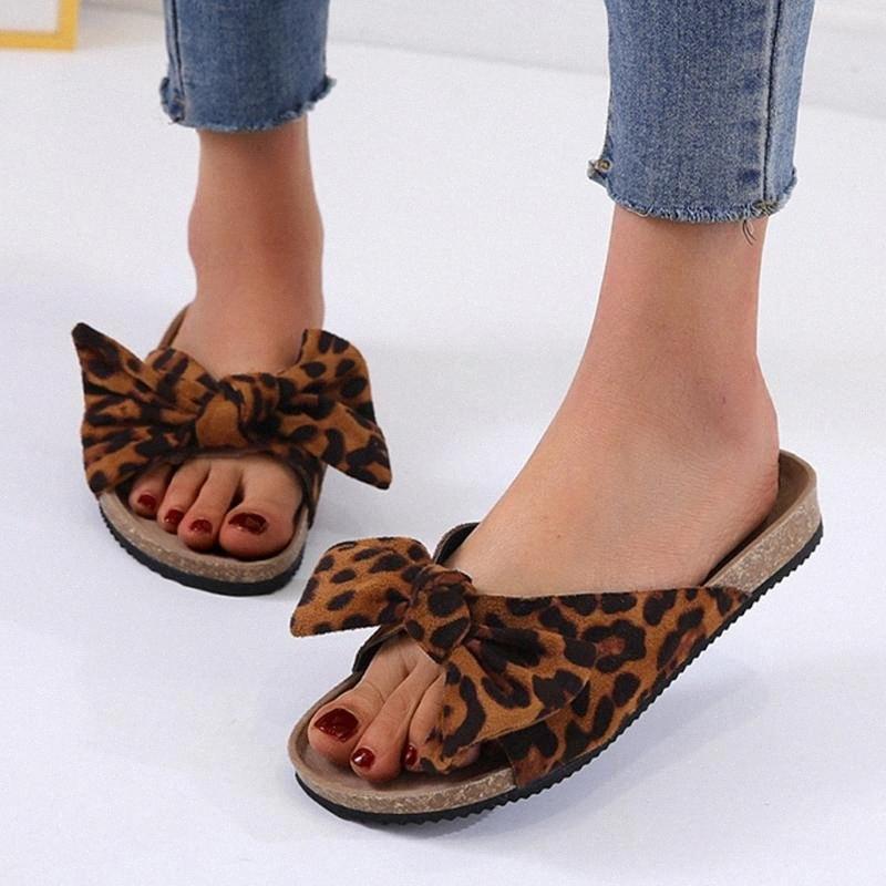 Mujeres de verano, leopardo, leopardo, plana, sandalias de fondo gruesas, zapatillas, zapatos de playa, zapatos de casa, chanclas, zapatos Zapatos Mujer # G3 R3R4 #