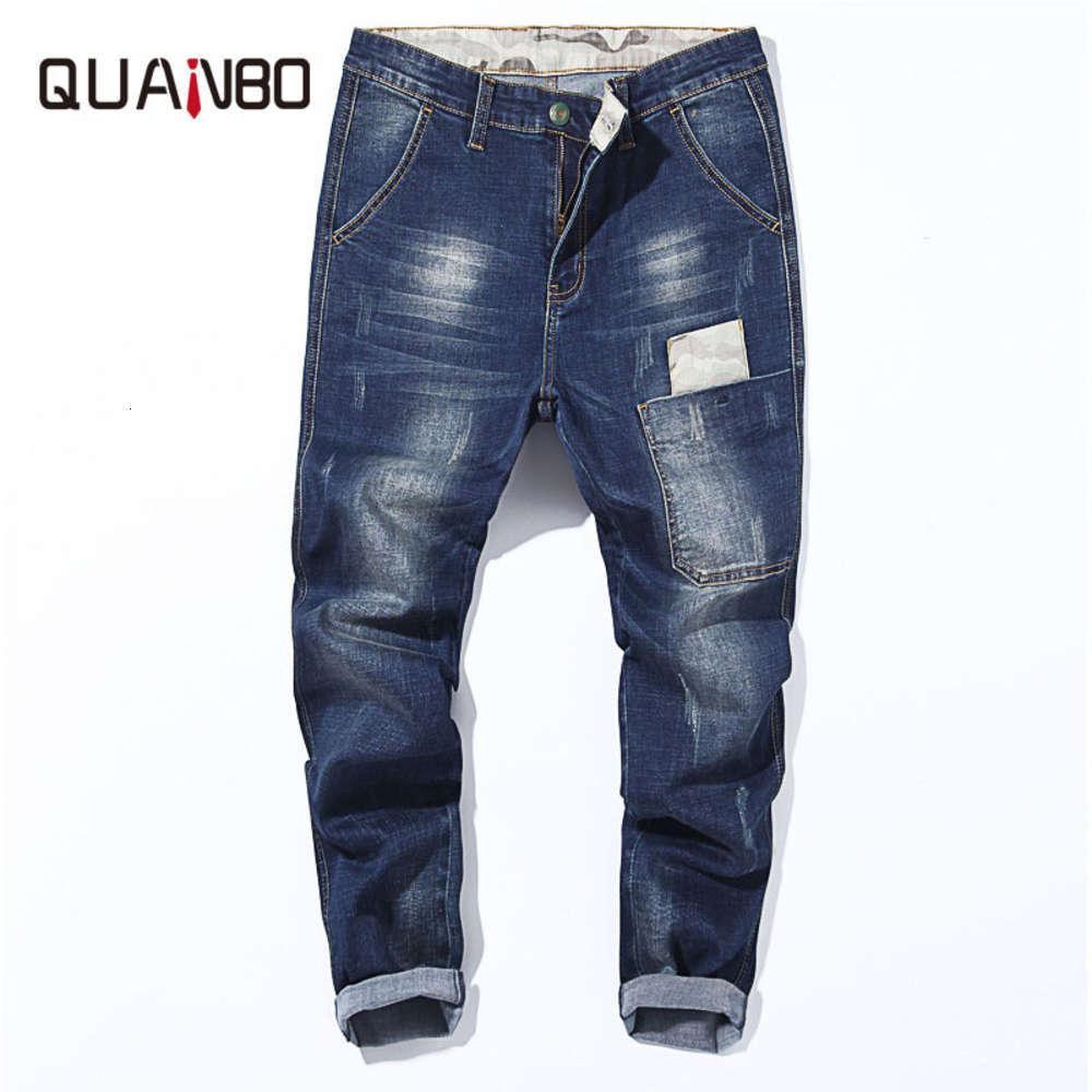 Hombres de gran tamaño jeans 2019 otoño invierno nuevo alto estiramiento suelto harem pantalones marca de drenaje pantalones masculinos azul negro 42 44 46 48