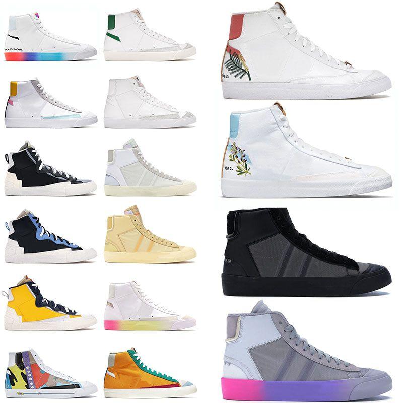 Off White x Nike Blazer Mid 77 Vintage Nik Sacai Calçados masculinos femininos de marca casual Catechu Índigo Branco All Hallows Eve Grim Reaper Sapatilhas Plataforma Tênis