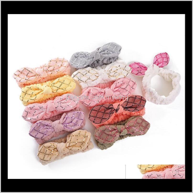 Pailletten Stirnband Bowknot Elastic Girls Turban Haarbänder Bogen für Make-up Gesicht Wash Spa Yoga Dusche Geschenk GGIPV BZLGN