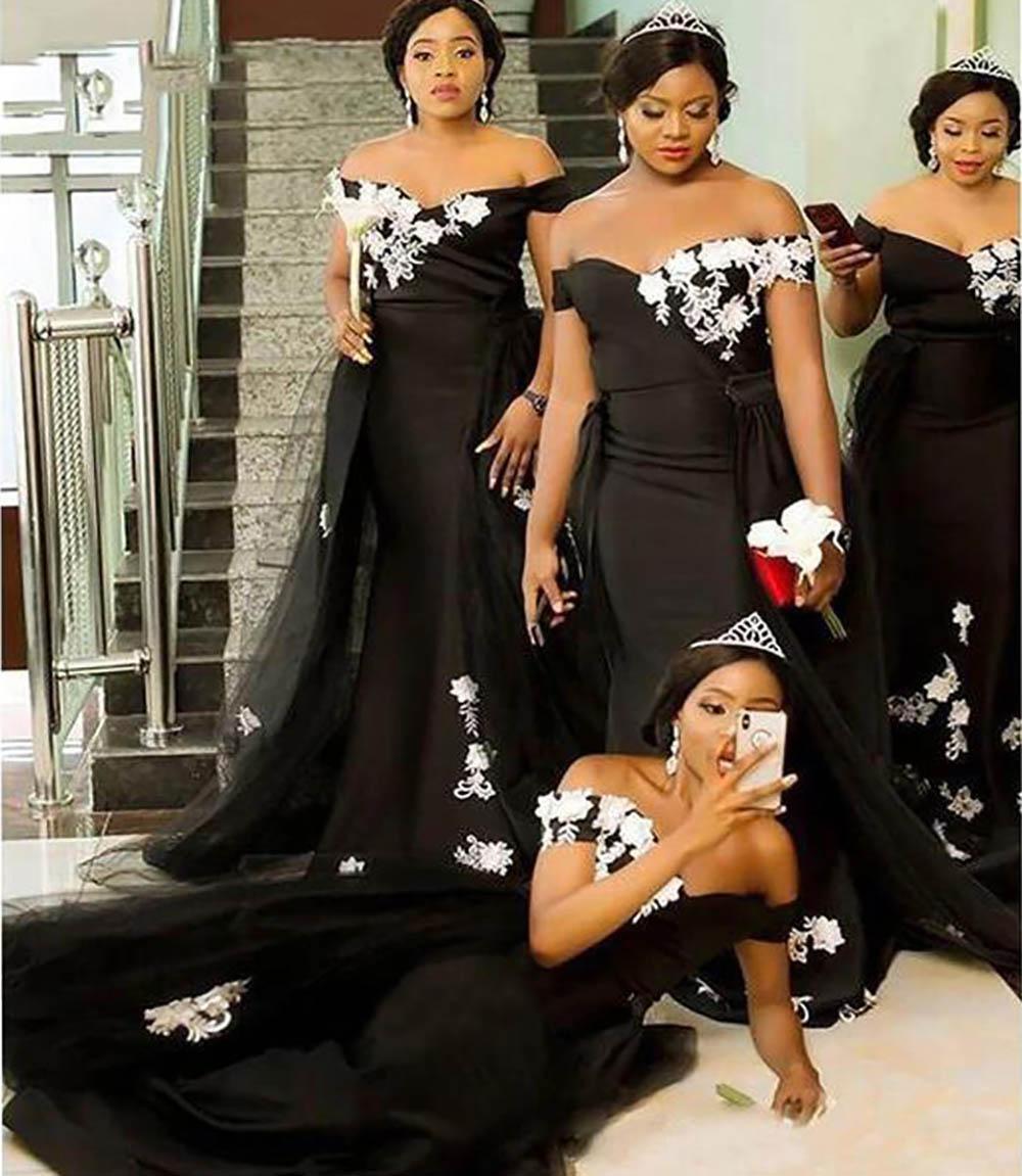 2021 Siyah Beyaz Gotik Düğün Gelinlik Modelleri Mermaid Overkirt Uzun Balo Abiye Aplike Kapalı Omuz Ayrılabilir Tren Saten Artı Boyutu Abiye