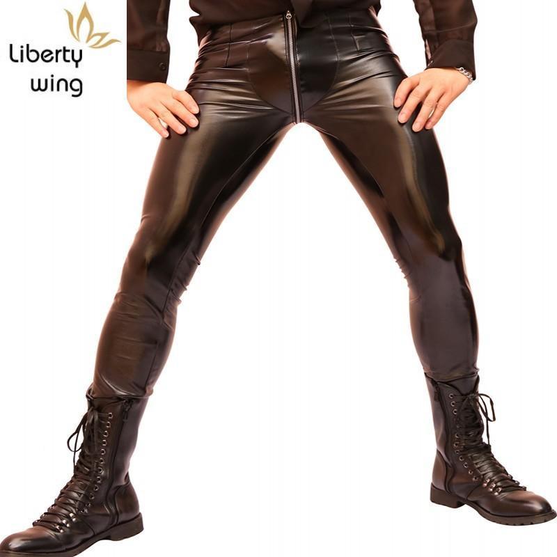 الرجال السراويل مثير مرونة عالية نحيل pvc فو الجلود رجل ليلة clubwear الشرير سستنة منخفضة واسط دراجة نارية الربيع رقيقة