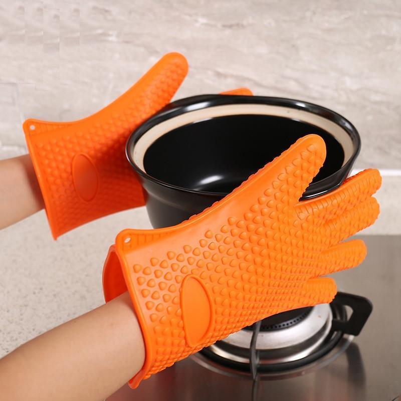 luvas de silicone luvas de silicone microondas forno de cozimento à prova d 'água não-deslizamento de cinco dedo coração forma isolante térmico cozinha churrasqueira churrasqueira
