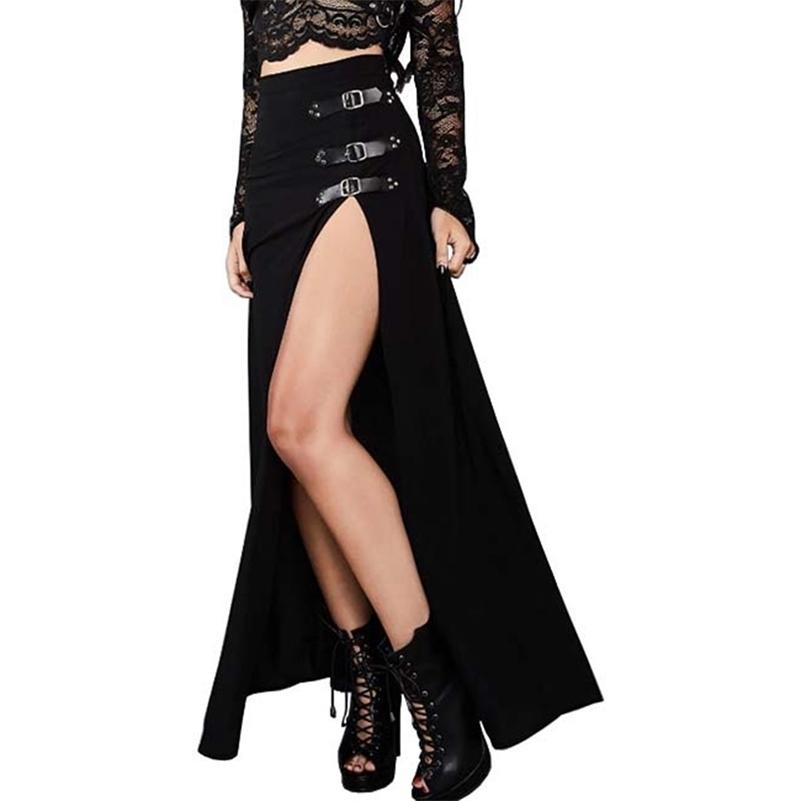 Rosetische sexy Punk Frauen Maxi Rock Hohe Taille Split Design Schnalle Gothic Black Vintage Party Rot Elegante Lange Röcke Fall 210324