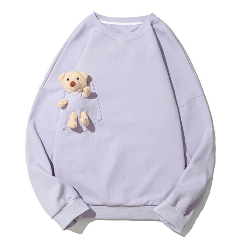 Sudaderas con capucha para hombres Oso Muñeca Bolsillo de gran tamaño Hip Hop Streetwear Jerseys Harajuku Camisa de manga larga de algodón Top Unisex