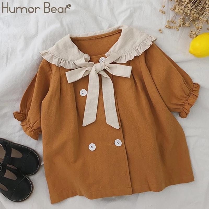 Юмор Медведь Детские платья для девочек Весна Осень Новая Кукла Большое Отворотное Двухбортное Платье Принцессы Детские Девушки Платье 210318