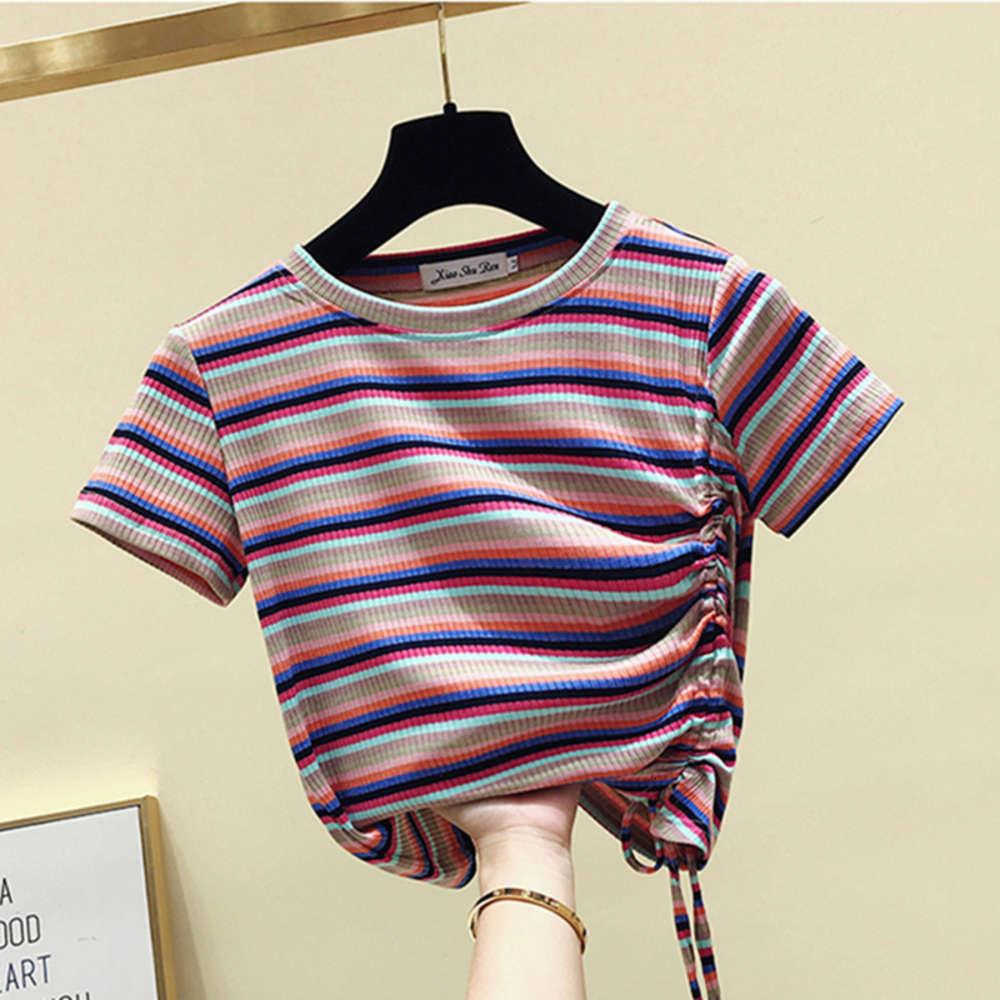 Футболки рубашки для рубашки Женский рукав Xialeiya Slim Rainbow полоса маленькая толпа машина затягивает талию