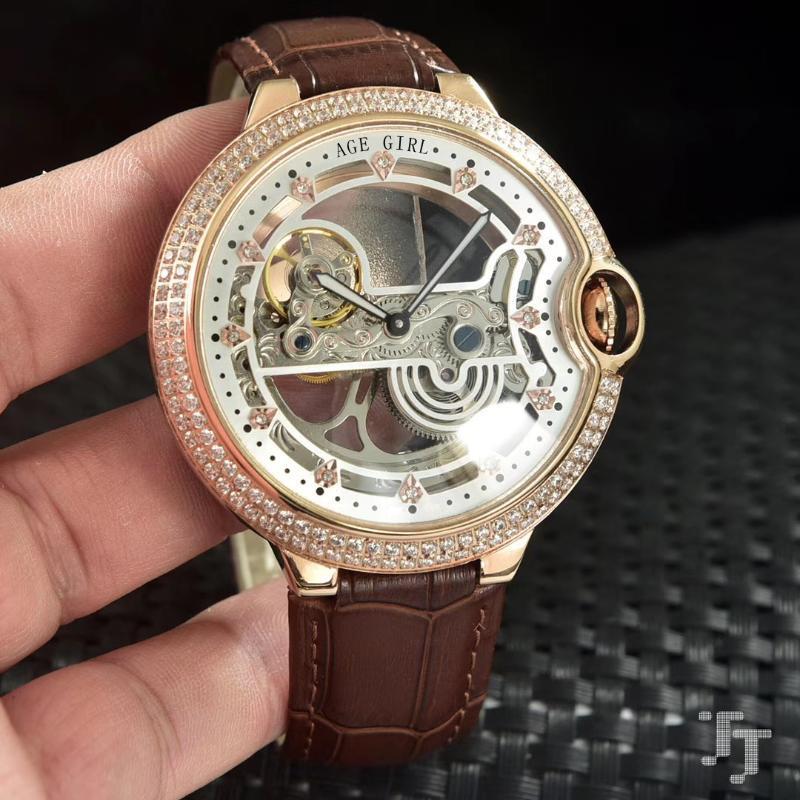 Klassische Männer Schwarz Braune Leder Diamant Blende Automatische mechanische Uhr Edelstahl Skeleton Tourbillion Saphir Armbanduhren