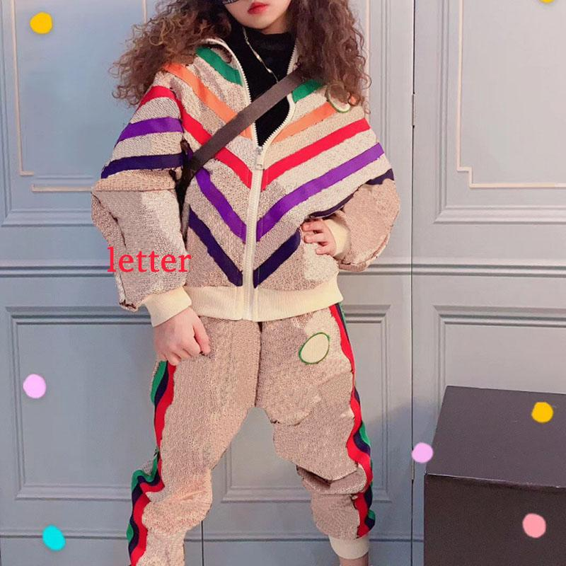 Kids Clothing Sets Baby Boy Girl Suits Casual Fashion Letter Children Tracksuits Two-piece Suit Sports Autumn Winter 2pcs Set Clothes Splicing Size 100-150