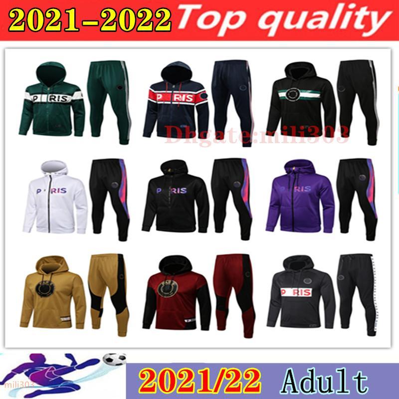 21 22 paris veste de football à capuche Survetement 2021 2022 Messi MBAPPE vestes de football survêtement chandal futbol ensembles de vêtements de sport