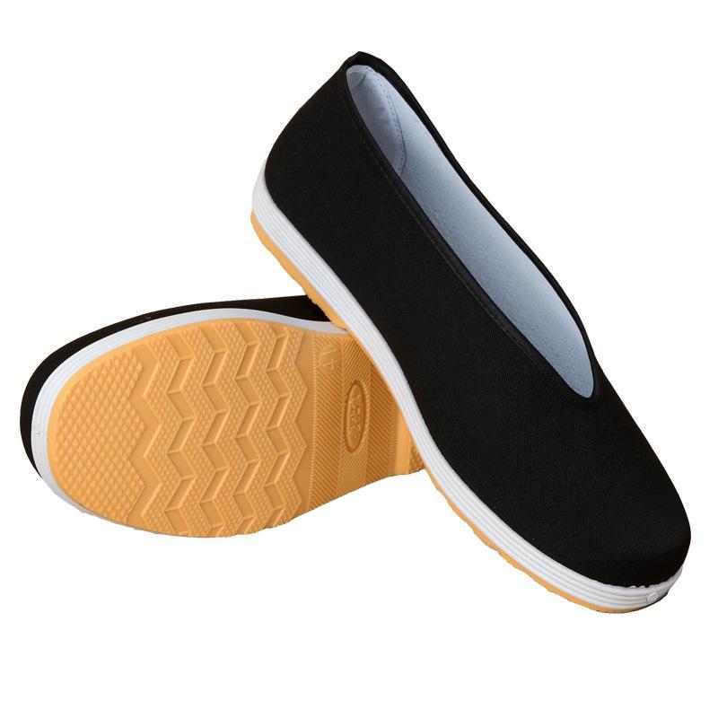 Eski Pekin bez ayakkabı erkek yuvarlak ağız bez ayakkabı nefes kung fu performans ayakkabı kaymaz orta yaşlı ve yaşlı rahat siyah pıhtı