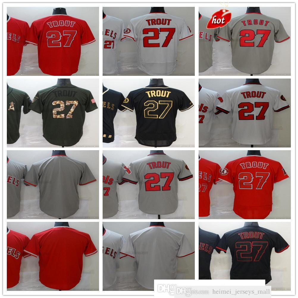 Costadas 2021-22 Jerseys de béisbol Mike 27 Trout Jersey Top Calidad Gris Rojo Blanco Negro Negro Nombre Nombre para hombre Tamaño S-XXXL