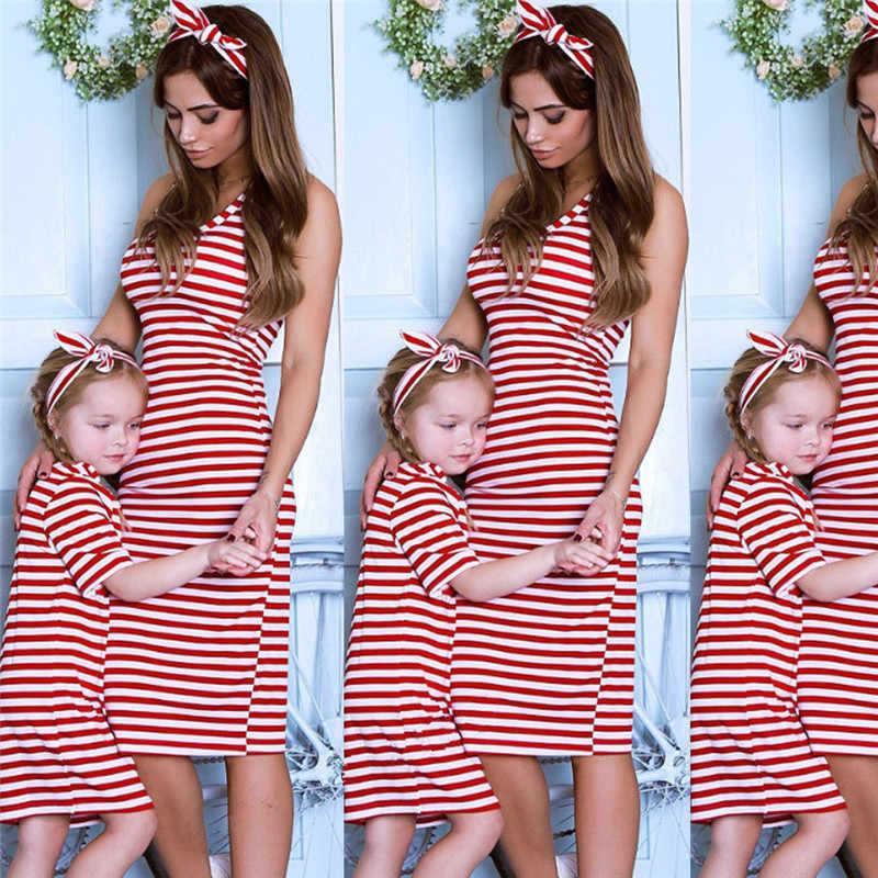 Wass Stripe Mommy و الابنة مطابقة ملابس الأم وابنتها فساتين الأم وابنتها مطابقة اللباس مطابقة اللباس الأسرة 313 K2