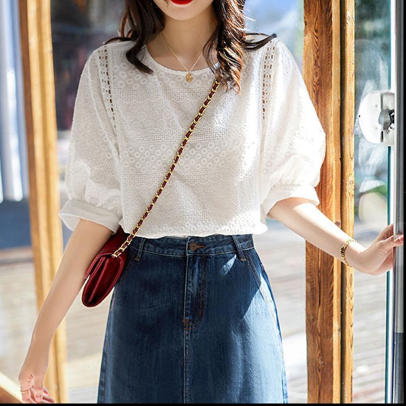 Camicie da donna Estate Corea Corea Moda Donna Lantern Manica Sleeve Embroidery in cotone pizzo O collo Casual Bluses Plus Size M28