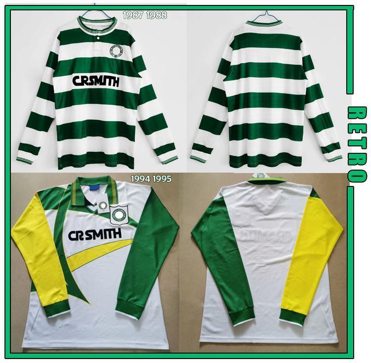 Celtic Retro Manches Longues 1987 1988 1994 Jersey de football Gascoiigne Albertz Ferguson Vintage Classic Football Shirts