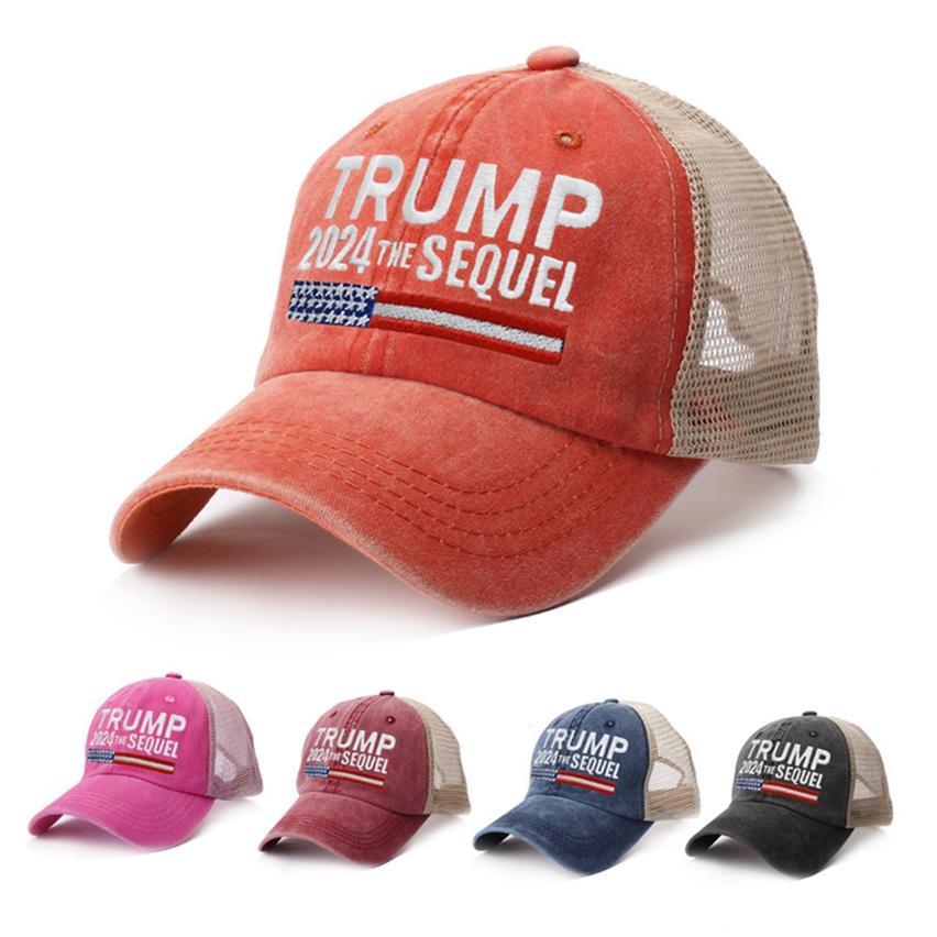 5 colori Trump 2024 Biden Summer Net Peak Cap Stati Uniti Presidential Election Baseball Lavato in cotone Cappelli da sole LLA564