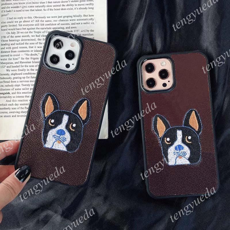 مصمم الأزياء مصمم الحالات الهاتف آيفون 13 13Pro 12 11 برو ماكس xs xr xsma 8plus أعلى جودة مطرزة حفرة الكلاب الجلود tpu غطاء الهاتف المحمول الفاخرة