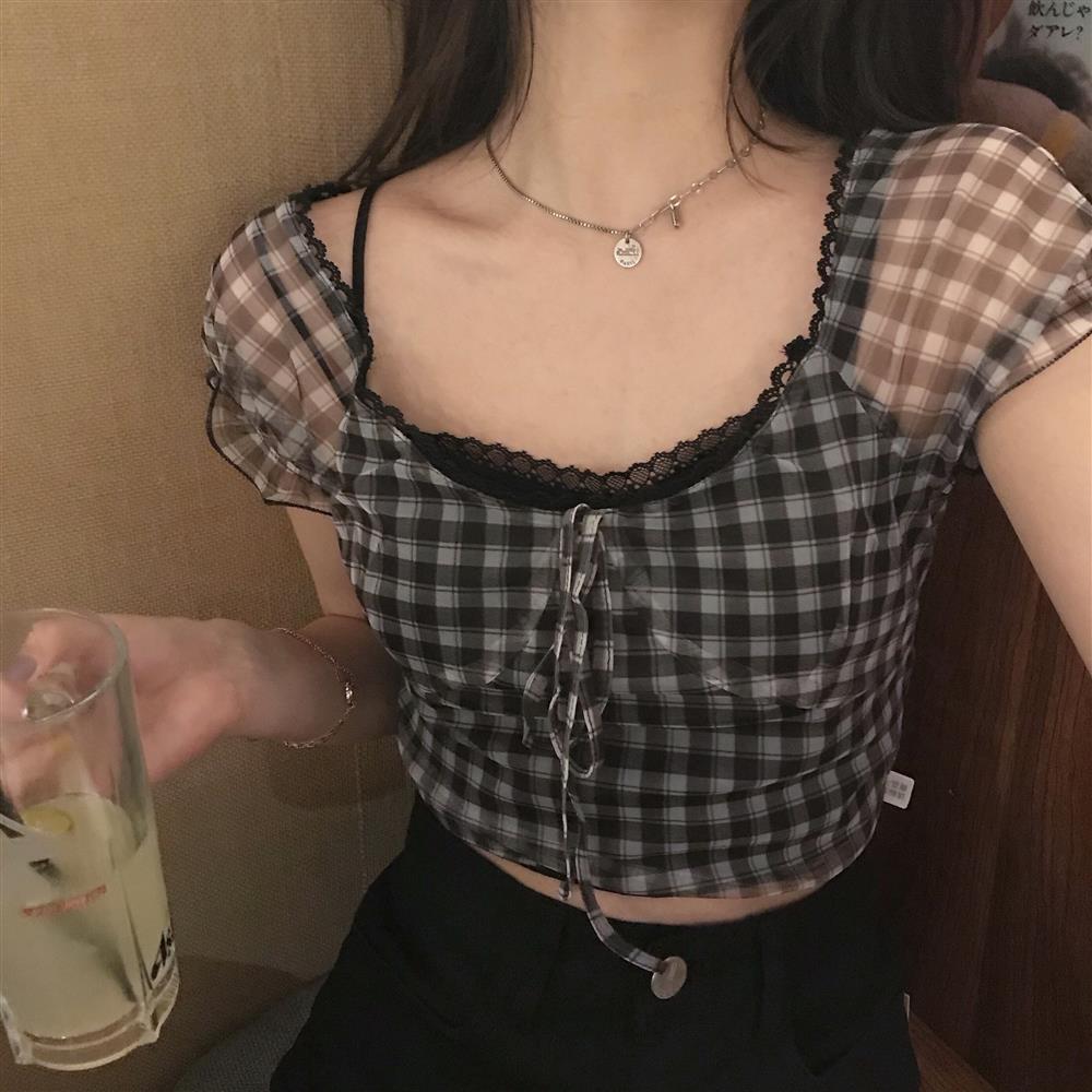 2020 sommer neue karierte bluse frauen retro quadrat collar hemd lässig spitze chiffon puff sleeve cropp tops weibliche korea kleidung y0323
