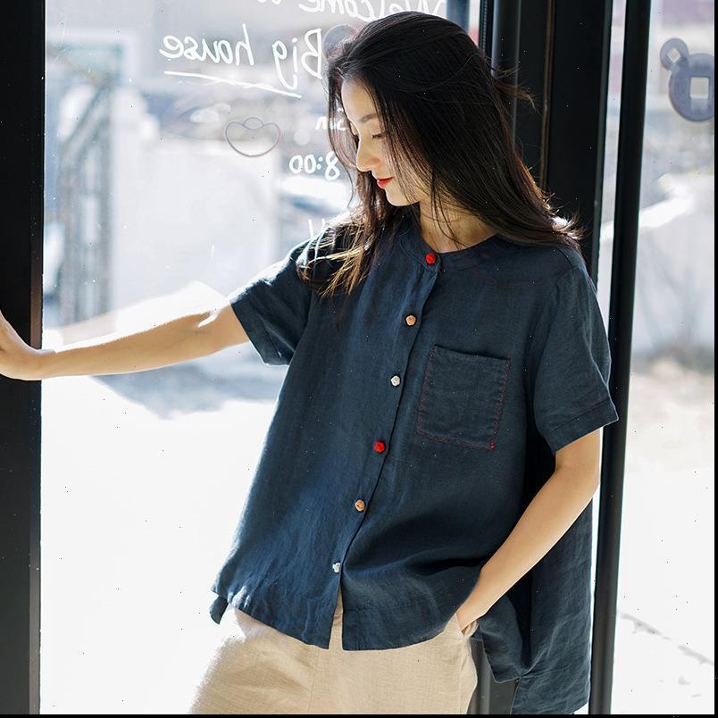 Bayan Bluzlar Johnature Kadınlar Vintage Gömlek Keten Düğme Cepler O Boyun Kısa Kollu Gevşek Giyim Bahar Tops