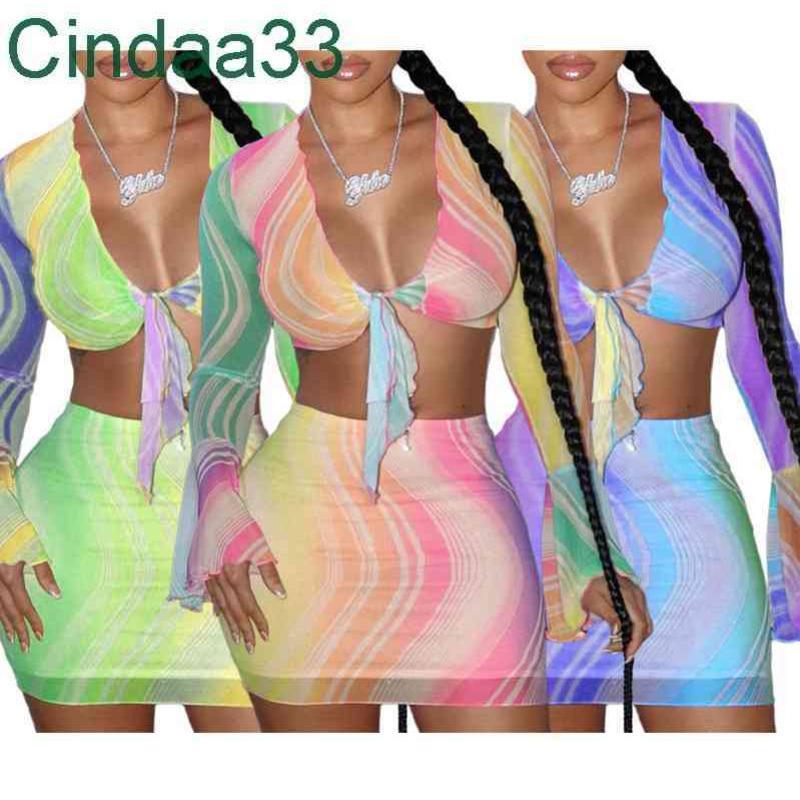 Bayan Seksi Mesh Elbise Baskılı Kravat Boya T-shirt Bodycon Mini Etekler 2 Iki Parçalı Kıyafetler Set Moda Streetwear Gece Kulübü Giysi Takım Elbise