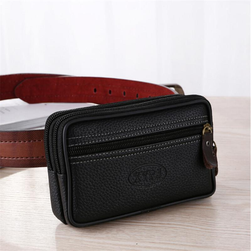 Mobile Phone Waist Bag For Men Testificate Belt Leather Coin Purse Strap Pocket Cellphone Clutch Packs Bags