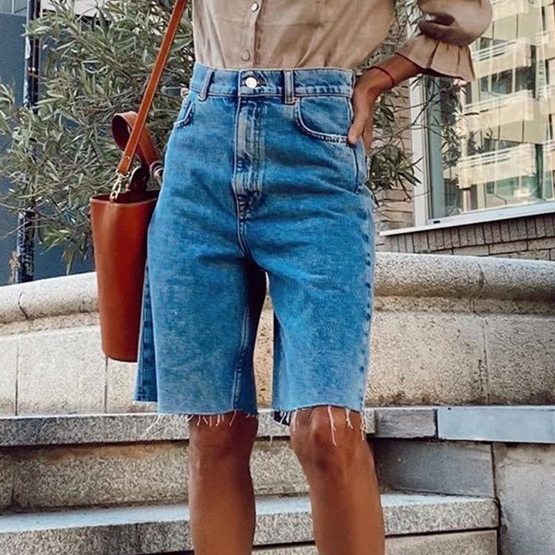 Verão solto botão casual denim shorts joelho comprimento lavado sexy feminino streetwear outfits jeans femininos