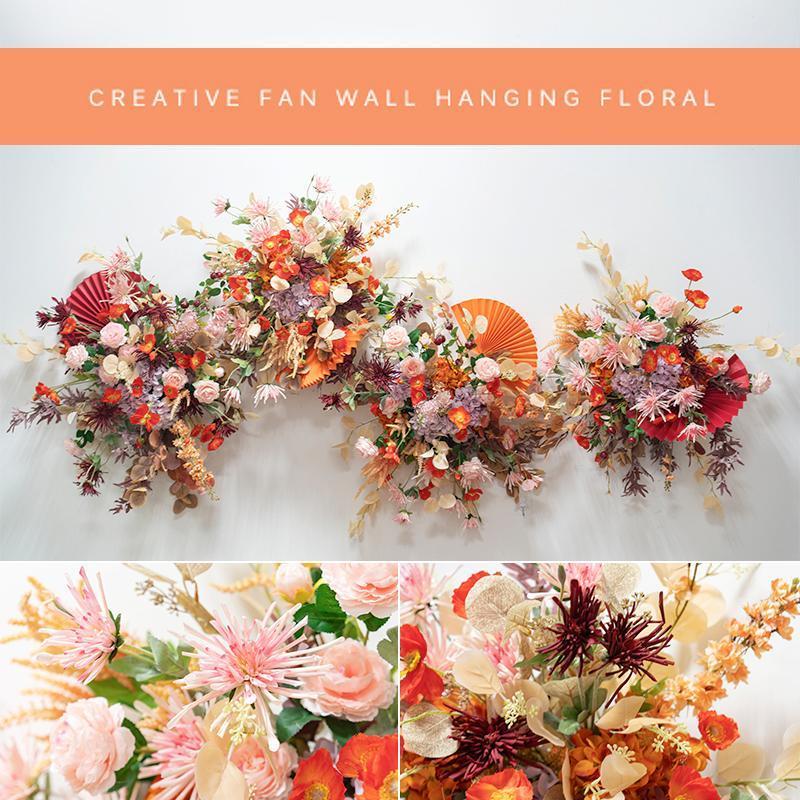 Dekorative Blumen Kränze Gefälschte Blumendekoration, Wandbehang, Fan-Anordnung, Führer, Bogenstufe Hochzeitszeremonie