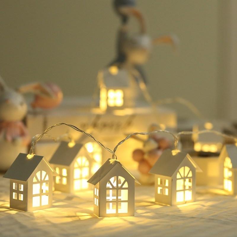 Estilo Nórdico Casa Pequena Luz de Luz Natal Corda de Madeira Luzes Quarto Quarto Decoração Bateria LED Strings