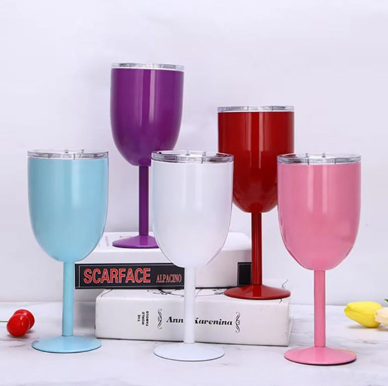 10oz vácuo de aço inoxidável parede dupla vinho isolado copo de vinho cocktail copo de vidro cálice copo de vinho suco bebidas caneca com tampa