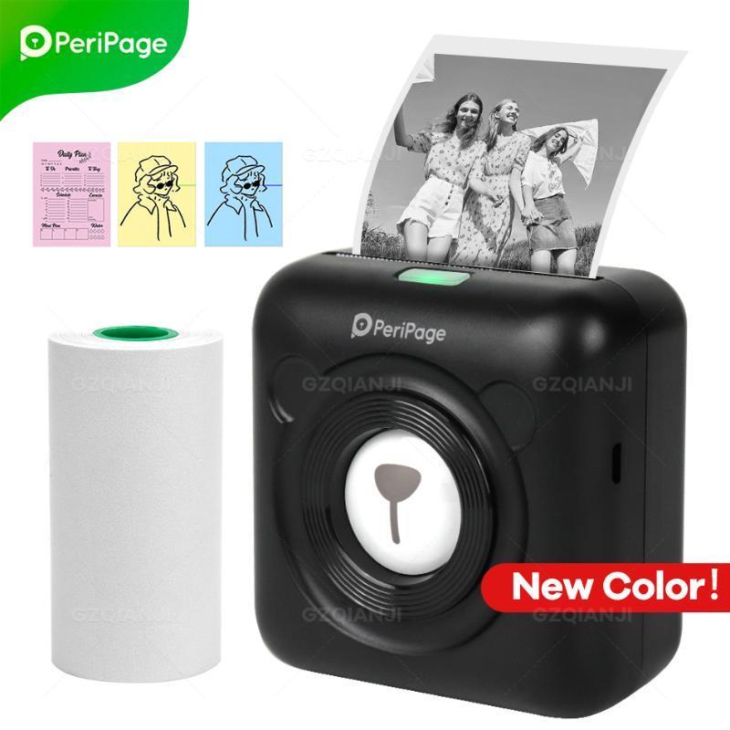 PeriPage Black Color Portable Thermal Bluetooth Printer Mini Po Pictures For Mobile Phone Pocket Label Printers