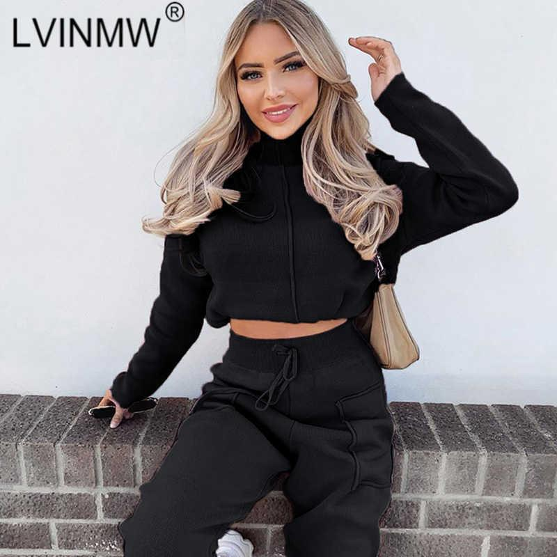 LVINMW Slim Solid Patchwork Two Piece Set Women Mock Neck Long Sleeve Crop Top High Waist Drawstring Pockets Straight Pants Y0625