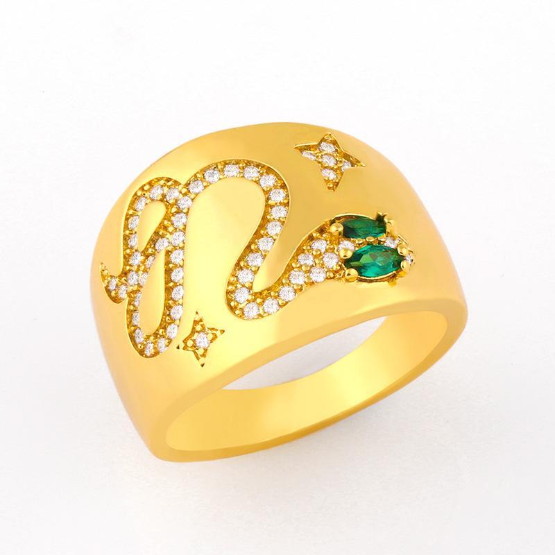 디자이너가 멋진 스타일 쥬얼리 패션 개성 과장 그물 레드 와이드 페이스 뱀 여성 다이아몬드 반지 RIJ63