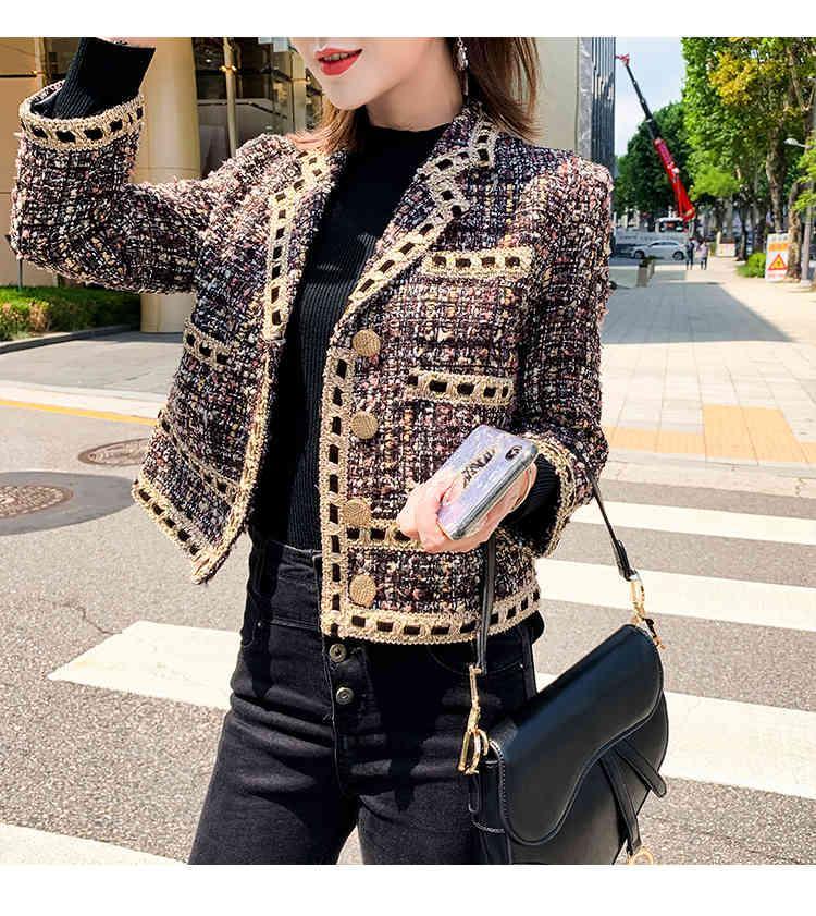 2020 Autumn spring new women's turn down collar tweed woolen short jacket coat plus size casacos SML AR6E