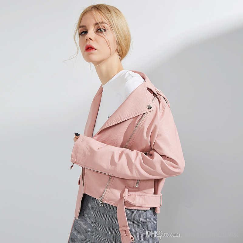 TB11 Womens PU in pelle PU Slim Giacca corta in stile coreano moda all'aperto outwear manica lunga con cerniera con cintura Giacche da donna Designer