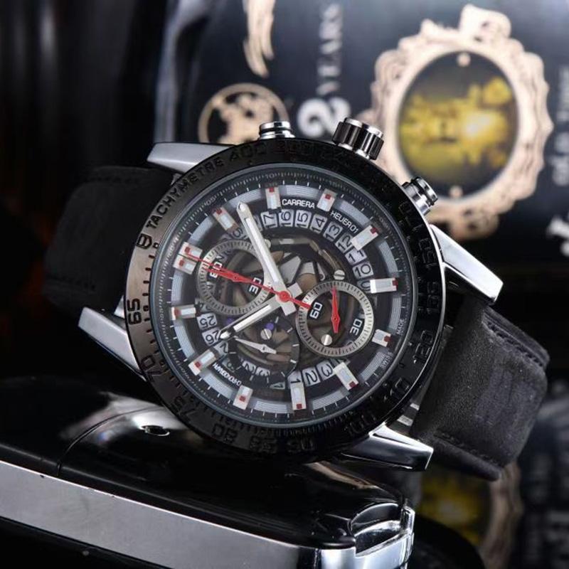 أعلى جودة الرجال الساعات subdial العمل الكوارتز حركة السيارات ووتش كرونوميت حزام جلدية للماء سباق ساعة اليد التناظرية مضيئة ساعة مونتر دي لوكس