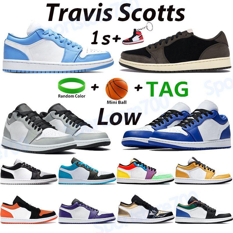 UNC 1 1s Scarpe da basket basso Travis scotts luce fumo grigio iper reale multi colore laser blu bannato oro toe uomini donne formatori US 5.5-11