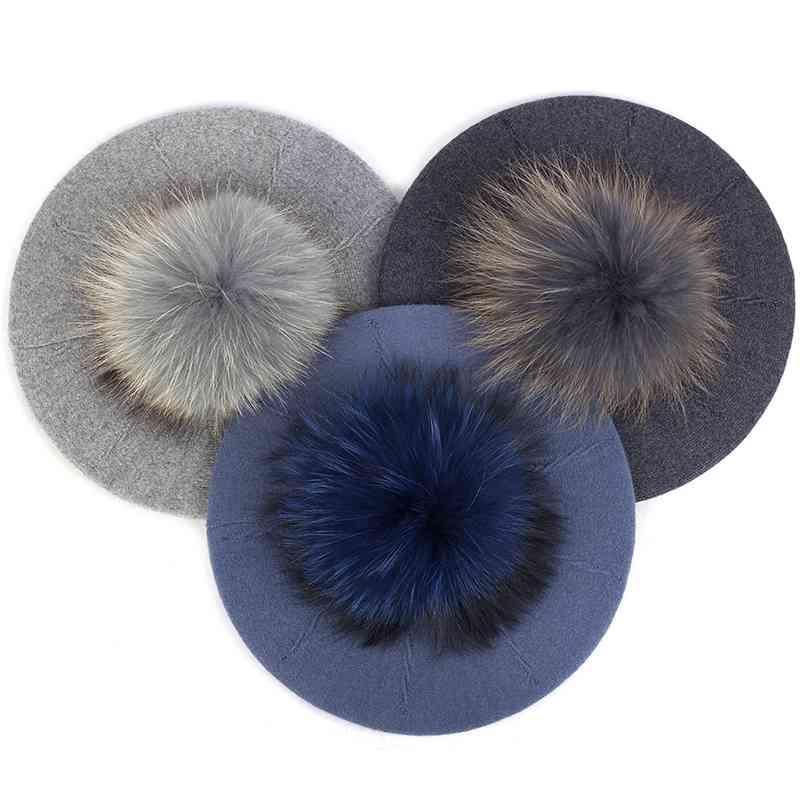 Moda Zarif Tatlı Kadın Bere Sıcak Kış Sonbahar Şapka Güzel Bayanlar Parti Şapka Kap 15 cm Ile Gerçek Kürk Ponpom Kadın Hediye 210429