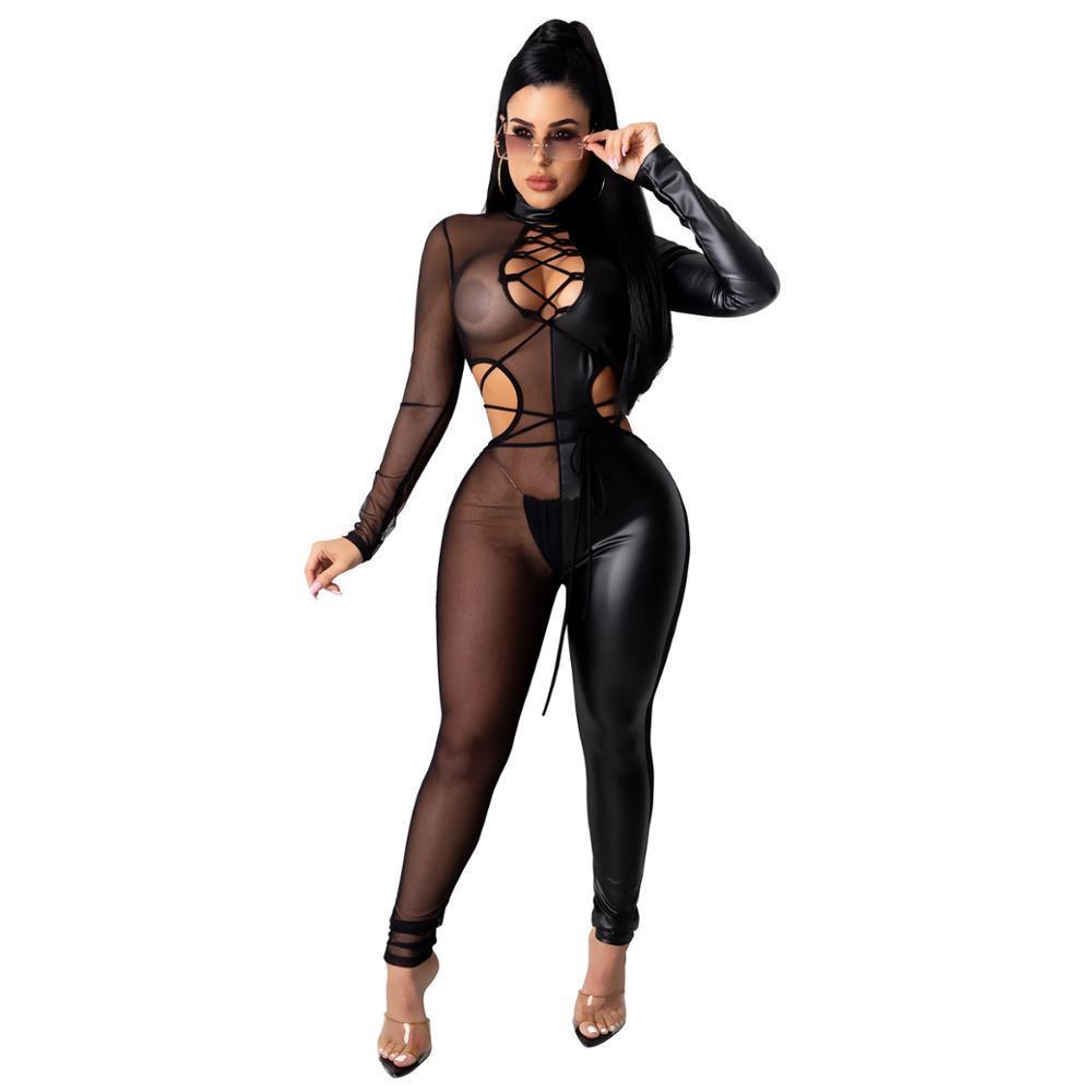 Sexy Frauen Jumpsuit Aushöhlen Sheer Mesh Party Nacht Clubwear Strampler Womens Overall Overalls Farbe Patchwork 210506