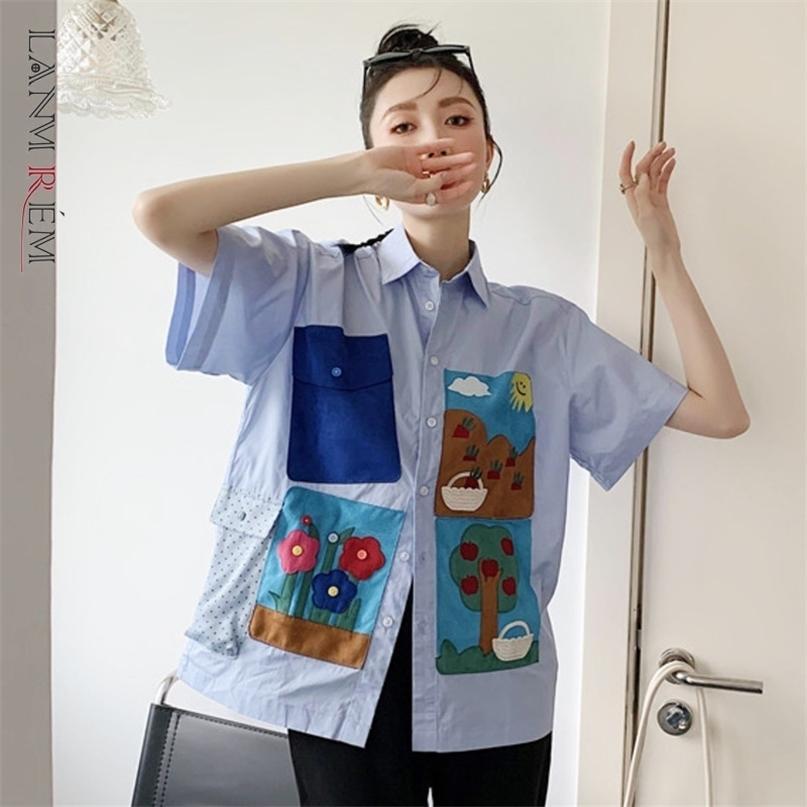 Femmes chemise poche à manches courtes imprimée chronométrée décontractée tempérament Fit Fashion Summer 2H856 210527