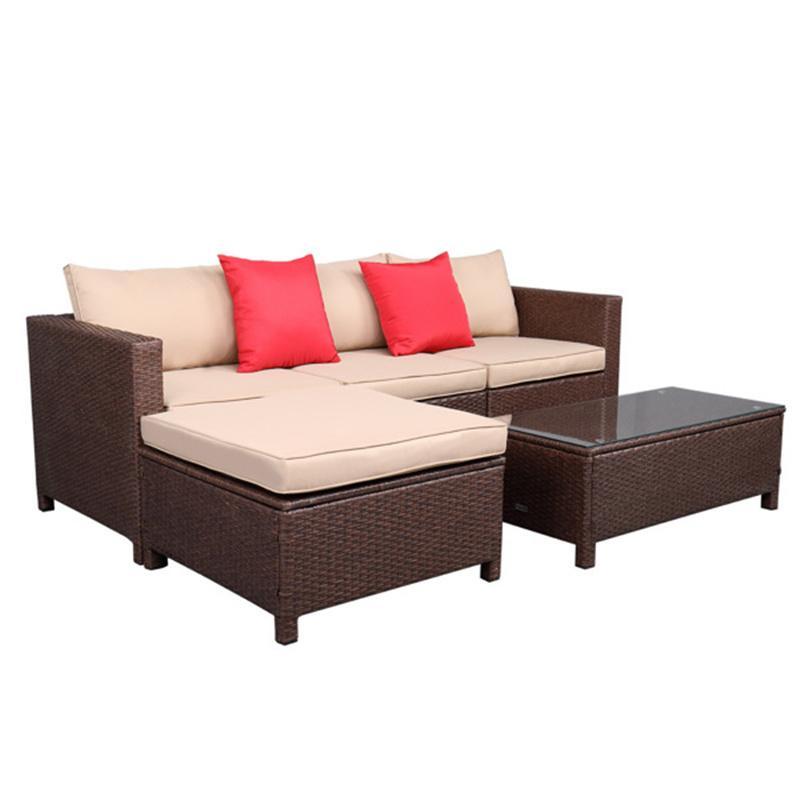 USHOSH NOSHION 5-PIEL Набор ротанга диван, висит ноги 2 угла 1 диван без подлокотников 1 ножного сопротивления 1 прямоугольный журнальный столик коричневый (всего три ящики)