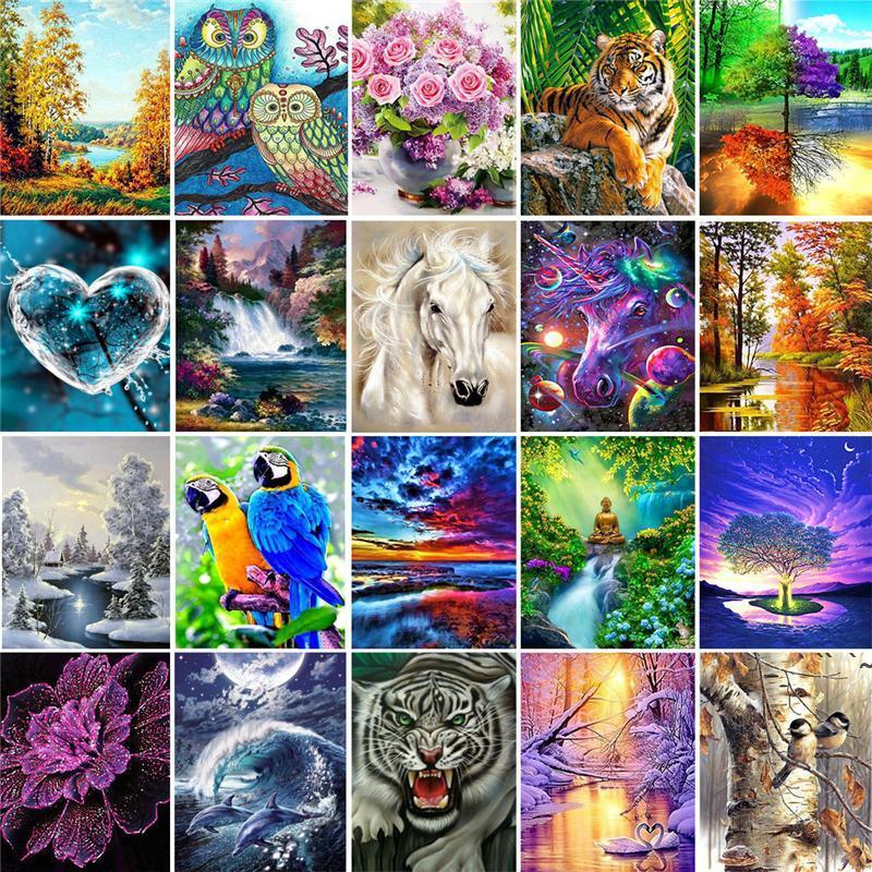 5d Gemälde Kunst Geschenke 5d DIY Diamant Malerei Kreuz Ctitch Kits Diamant Mosaik Stickerei Landschaft Tiere Malerei Runder Meer Owc6917